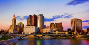 Columbus, Ohio Skyline Reflection On Scioto River